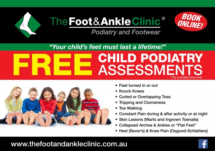 Childrens Podiatry Poster LAND 1 688x486 - FREE CHILD FOOT HEALTH CHECKS!